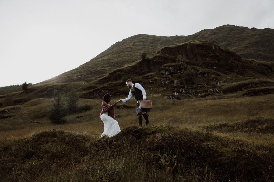 wedding hiking