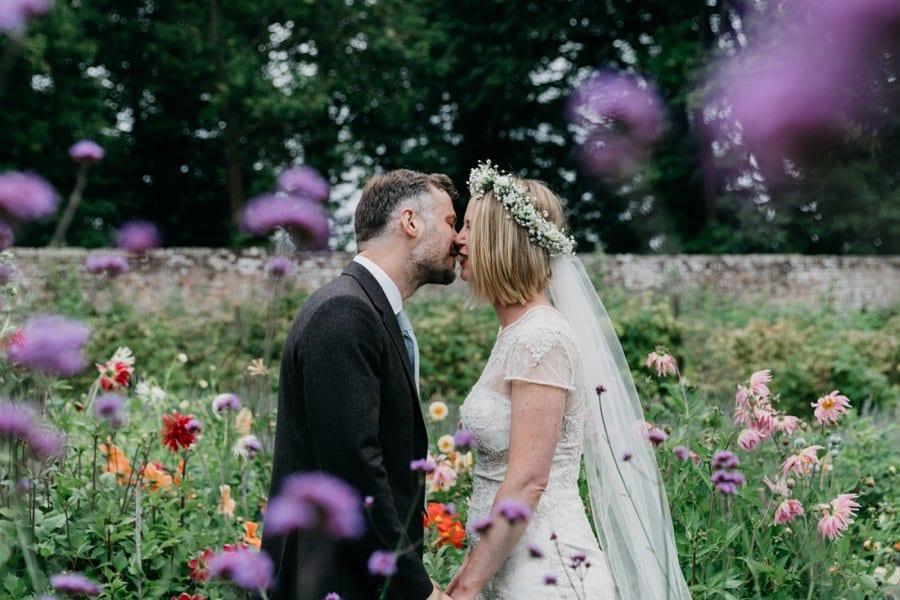 botanical garden wedding couple