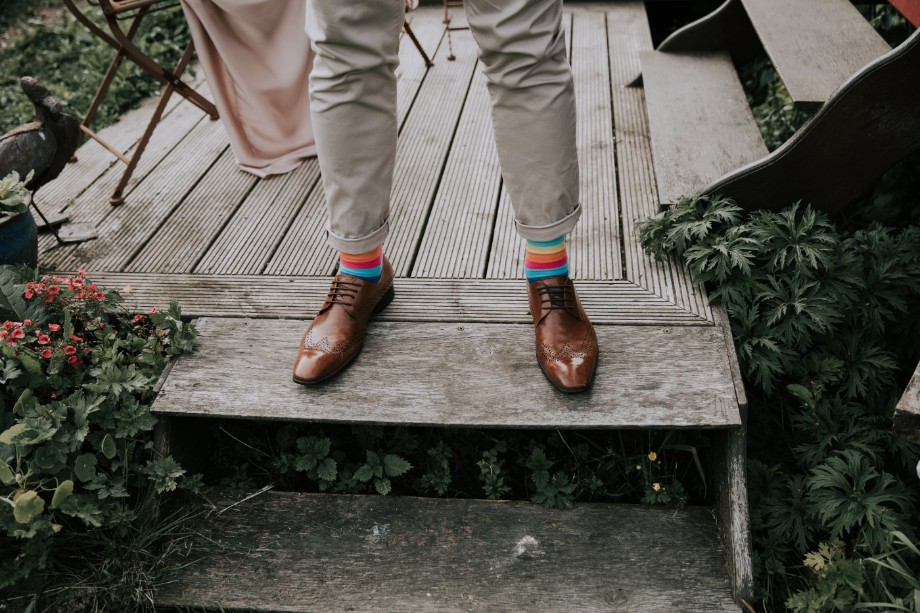 groom stripy socks