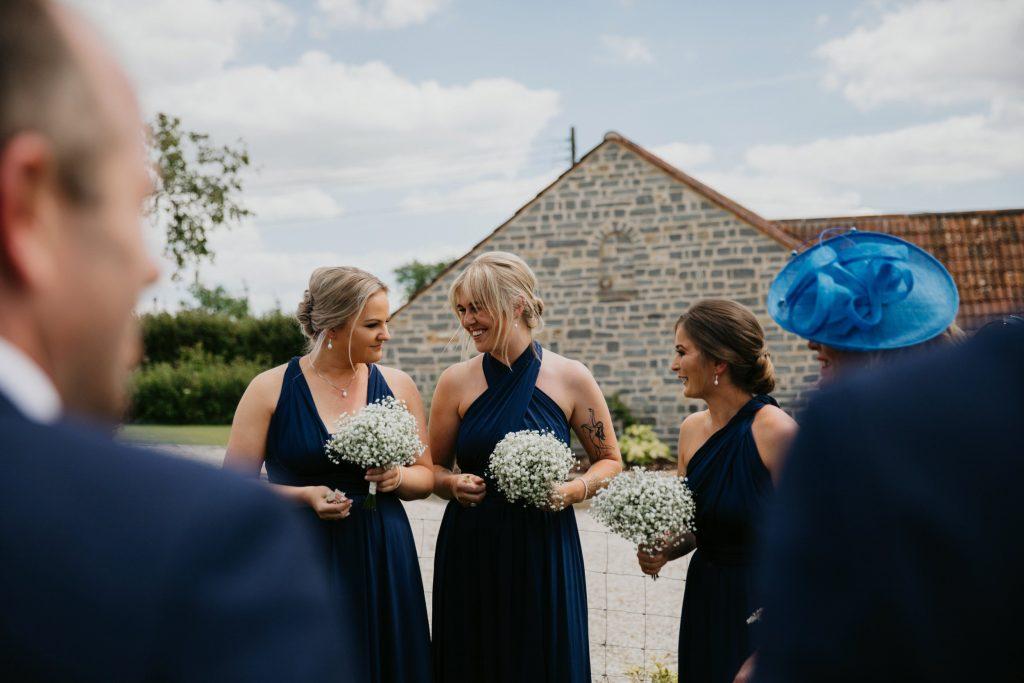 laughing bridemaids