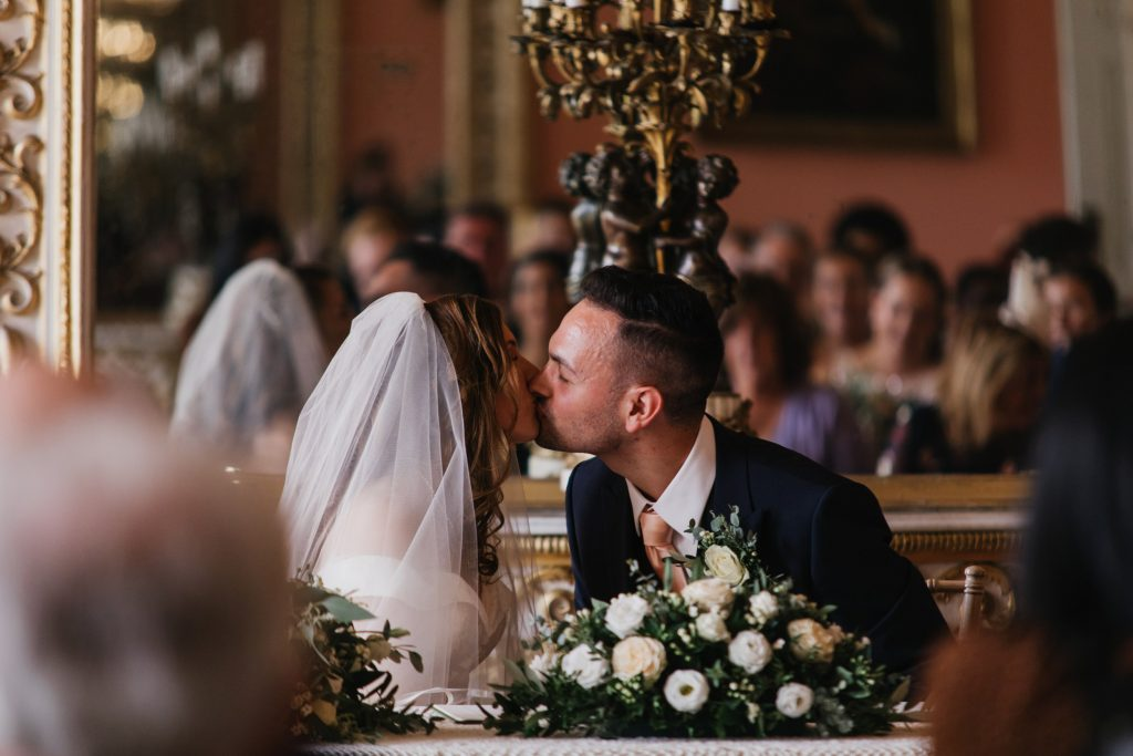 bridal couple kissing